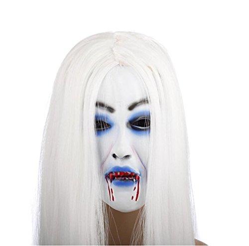 Latex Creepy Scary Emulsion Vampire White Hair Horror Pull-over Mask for Halloween