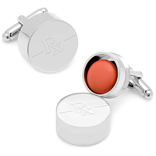 Silver Plated Tablet Pill Box Cufflinks