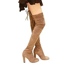 Kaitlyn Pan High Heel GREY Over the Knee Boots(KP-OKB-HL-GR-37)