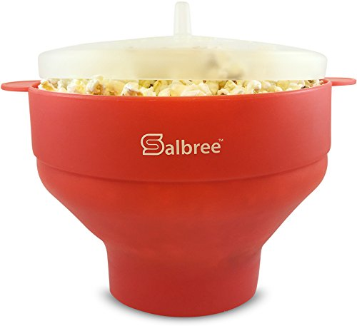 Salbree Microwave Popcorn Popper with Lid, Silicone Popcorn Maker, Collapsible Bowl Red (Tiny Electric Fireplace compare prices)