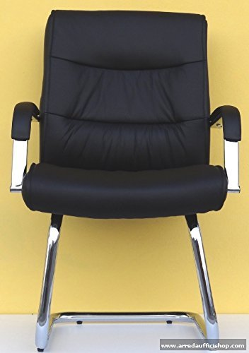 Poltrona sedia visitatore direzionale Berry in vera pelle