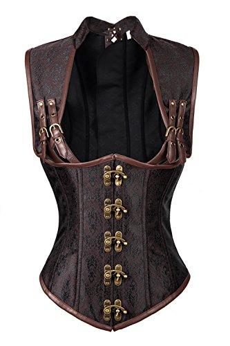 [Charmian Women's Steampunk Steel Boned Gothic Vintage Brocade Underbust Corset Vest Plus Size Brown] (Plus Size Sexy Pirate Costumes)