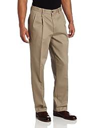 Savane Men\'s Pleated Wrinkle Free Twill Pant, Khaki, 38x31
