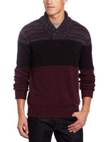 Calvin Klein Jeans Men's Color Block Long Sleeve Shawl Collar
