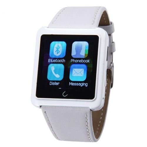 Soyan U10 Bluetooth Smart Wrist Watch Phone with Leather Watch Strap Compatible For Android Samsung IPH HTC LG (White)