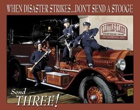 When disaster strikes, don't send a Stooge - send Three! Three Stooges as fire fighters on a fire truck