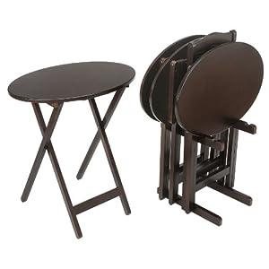 Bay Shore Collection Oval Tray Table Set, 5-Piece Espresso