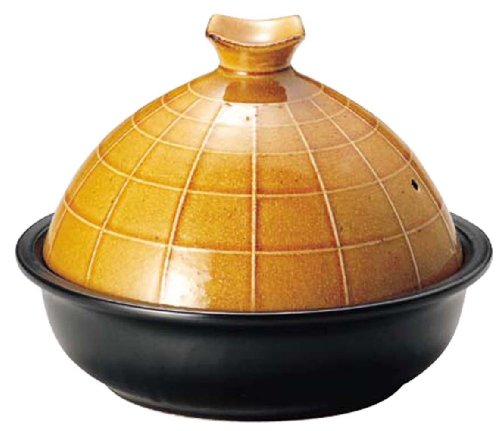 Globe type Tagine Mino-yaki Japan for a gas stobe,range and oven 22cm(8.7_Inch) Yellow color