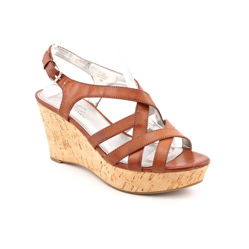 marc fisher gleena3 womens peep toe textile wedge sandals