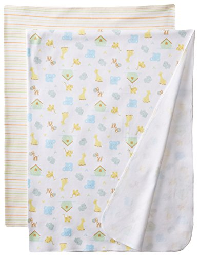 Spasilk Unisex-Baby Newborn 2 Pack Swaddle Blanket, Yellow Ark, One Size