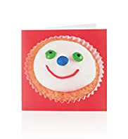 Cupcake Smiley Face Greetings Card