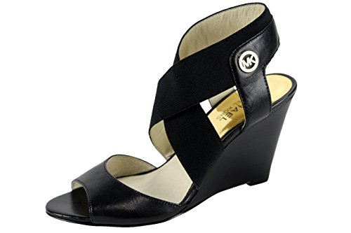 Michael Kors Meadow Wedge Sandal Black Open Toe Leather High Heel Shoe