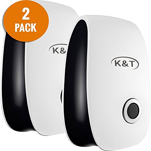 K&T Ultrasonic Pest Repeller, Ideal Indoor Repellent and Pest Control for Home, Cafe, Bakery, Restaurant (2-Pack)