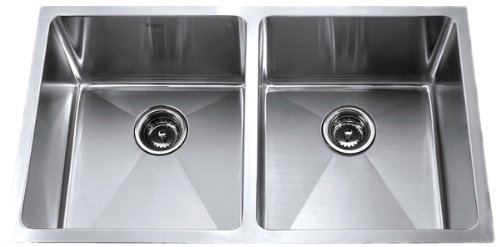 New Kraus KHU102-33 33-Inch Undermount 50/50 Double Bowl 16 gauge Kitchen Sink, Stainless Steel