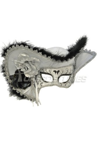 Venetian Mask Masquerade Pirate Hat White Mardi Gras Costume New Orleans