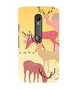 PrintVisa Girly Animal Deer Design 3D Hard Polycarbonate Designer Back Case Cover for Motorola Moto G3