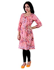 Pure Nautanki Enchanted Floral Print Pink Kurta With Embroidery
