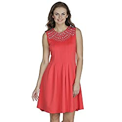 SVT Ada Collections Lycra Red pleated one piece dress(00801M_Red_Medium)