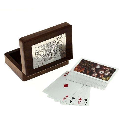 Scatole di legno artigianali per la conservazione - titolare della carta da gioco con mazzo di carte artigianali realizzati - 3,81 x 11,43 x 8,89 cm