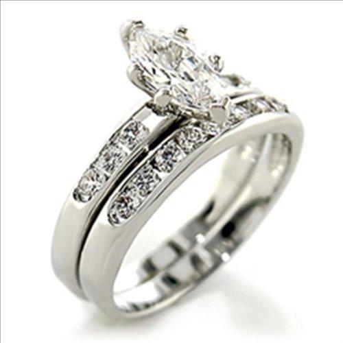 1ct cz Marquise cut Bridal Wedding Ring 2 pc set Platinum Plated (9)