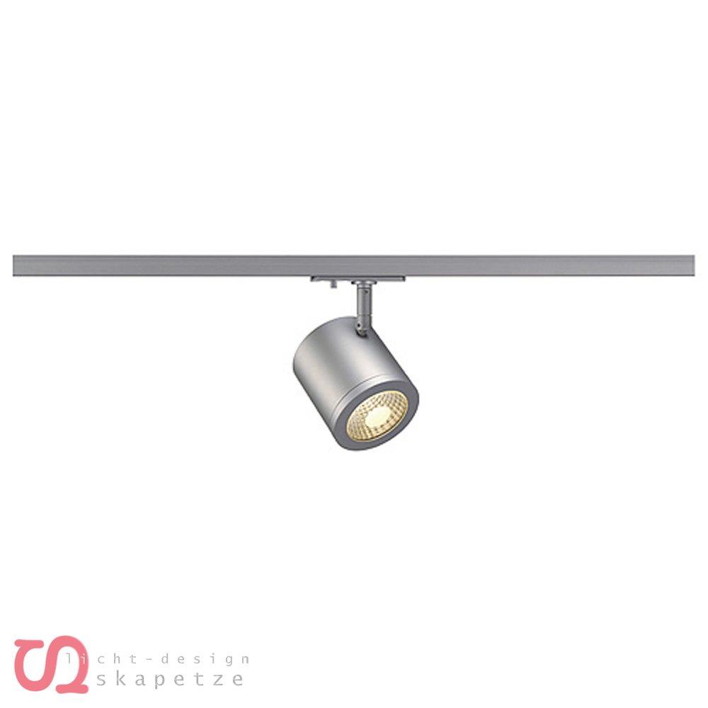 SLV Enola_C Spot, rund, 9 W LED, 3000 K, 55 Grad, inklusive 1P-Adapter, silbergrau 143954