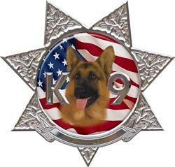 K9 7 Point Star Police Dog Decal with Shepherd - 16