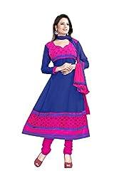 JHEENU Women's Embroidered Unstitched Anarkali Dress Material (Blue_Free Size)...