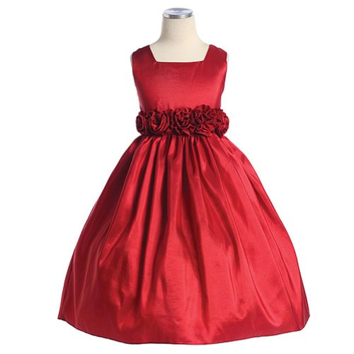 Sweet Kids Girls Slvless Dress Rolled Flw Waistband 6 Red (Sk 3047) [Apparel]...