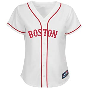 Boston Red Sox Alternate White Ladies Replica Jersey by Majestic by Majestic