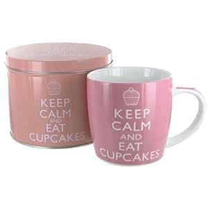 Keep Calm And Eat Cupcakes Mug in a Tin Gift Set