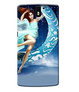 Fuson Moon Girl Back Case Cover for ONEPLUS ONE - D4014