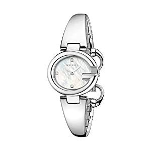 Gucci Guccissima Collection Women's Quartz Watch with Mother of Pearl Dial Analogue Display and Stainless Steel Bangle YA134504
