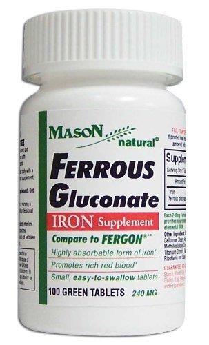 Mason Vitamins  Iron Ferrous Gluconate 240Mg Tablets, 100-Count Bottles (Pack of 4)