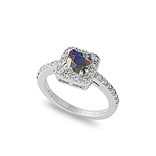Sterling Silver Woman'S Engagement Rainbow Cz Ring Fashion Comfort Fit Band 9Mm Size 10 Valentines Day Gift