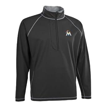 MLB Mens Miami Marlins Shadow 1 2 Zip Pullover by Antigua
