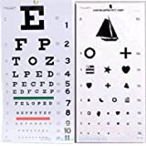 """Elite Medical Instruments ® Kindergarten and Snellen Wall Eye Charts 22"""" By 11"""" Combo Pack"""