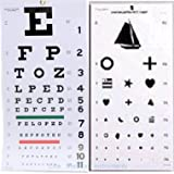 "Elite Medical Instruments ® Kindergarten and Snellen Wall Eye Charts 22"" By 11"" Combo Pack"