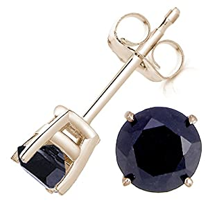3 CT Black Diamond Stud Earrings 14K Yellow Gold