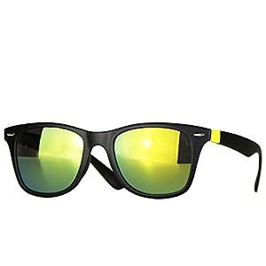 caripe Wayfarer Sonnenbrille verspiegelt - SP (matt schwarz - gelb-vra)