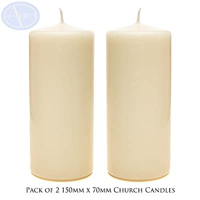PACK of 2 - Ivory Church Candles (70mm x 150mm) by Aura Essential Oils