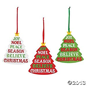 Amazon.com - 12 CHRISTMAS Tree ORNAMENTS w/INSPIRATIONAL Words of the ...