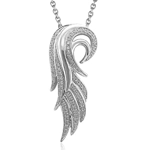 Sterling Silver Angel Feather Diamond Pendant Necklace (0.16 carat)
