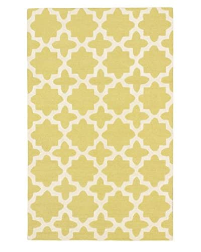 Handmade Monaco Wool Rug, Cream/Light Green, 5′ x 8′