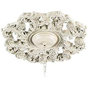 "Old World 18"" Wide Antique White Ceiling Medallion"
