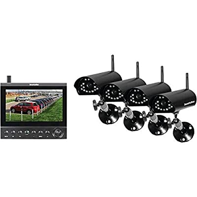 Securityman DigiLCDDVR4 Wireless Security System, 7-Inch LCD/SD Recorder with 4 Night Vision Wireless Cameras