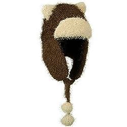 BROWN Soft Fleece Trapper Bomber Winter Hat w/ Bear Ears