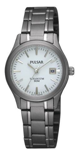 Pulsar PXT871X1 Ladies Watch with a White Dial and a Titanium Bracelet