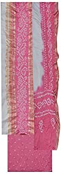 MS Bandhani Women's Cotton Silk Unstitched Dress Material (MSB_1-A, Pink)