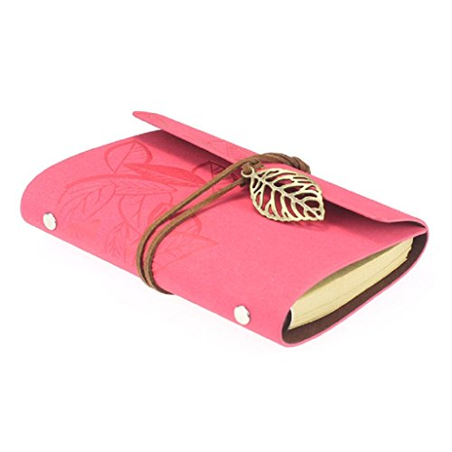 Mikey Store Vintage Leaf Leather Cover Journal Diary Gift Rushed Sketchbook Loose Leaf Blank Notebook (Hot Pink) (Hot Pink Journal compare prices)