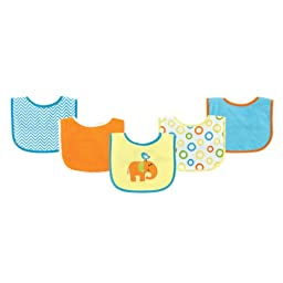 Luvable Friends 5 Piece Drooler Bib with Waterproof Backing, Yellow Elephant